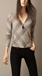 Reversible Check Wool Cardigan