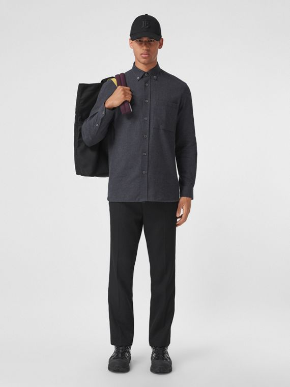 Button-down Collar Cotton Flannel Shirt in Charcoal Grey Melange