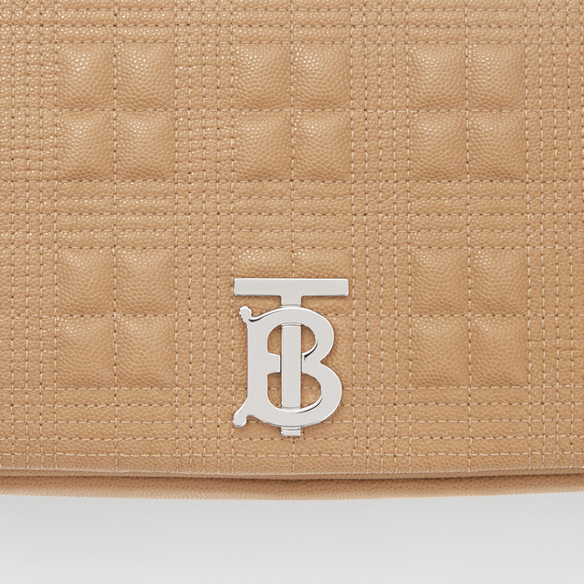 Medium Quilted Grainy Leather Lola Bag in Camel/palladium - Women | Burberry - gallery image 1