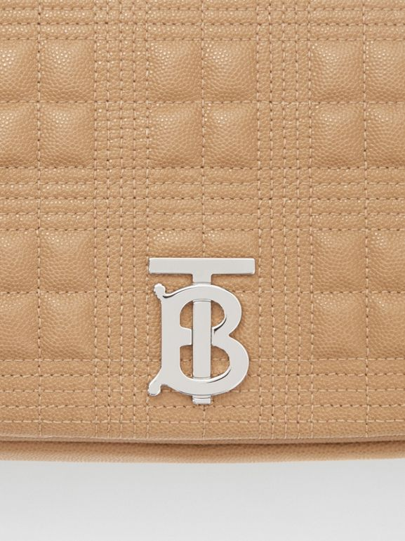 Medium Quilted Grainy Leather Lola Bag in Camel/palladium - Women | Burberry Canada - cell image 1