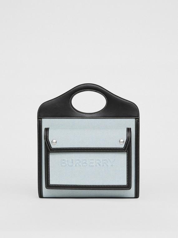 Bolso Pocket mini de dos tonos en lona y piel (Cobalto Vivo)