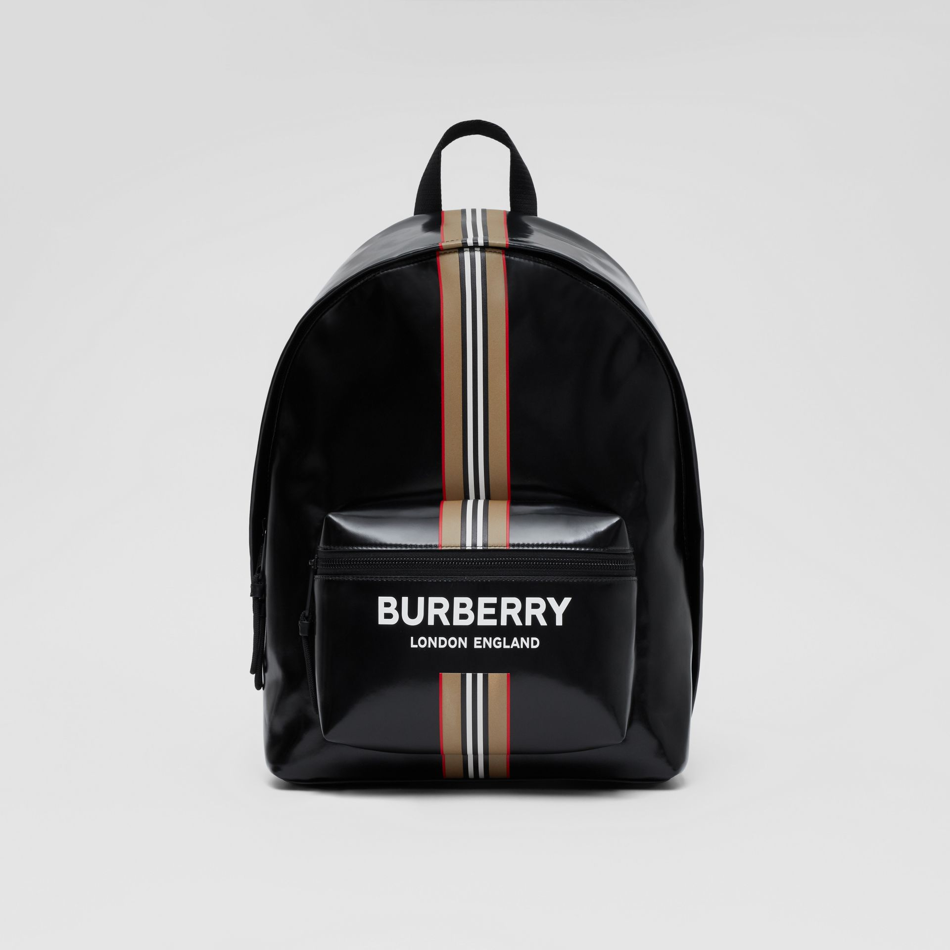 Logo and Icon Stripe Print Backpack in Black - Men | Burberry United Kingdom - gallery image 0