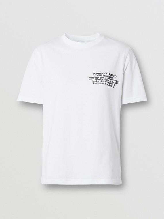 Camiseta de algodão com estampa geográfica (Branco)