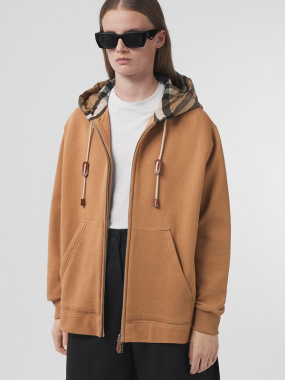 Check Hood Cotton Oversized Hooded Top in Camel