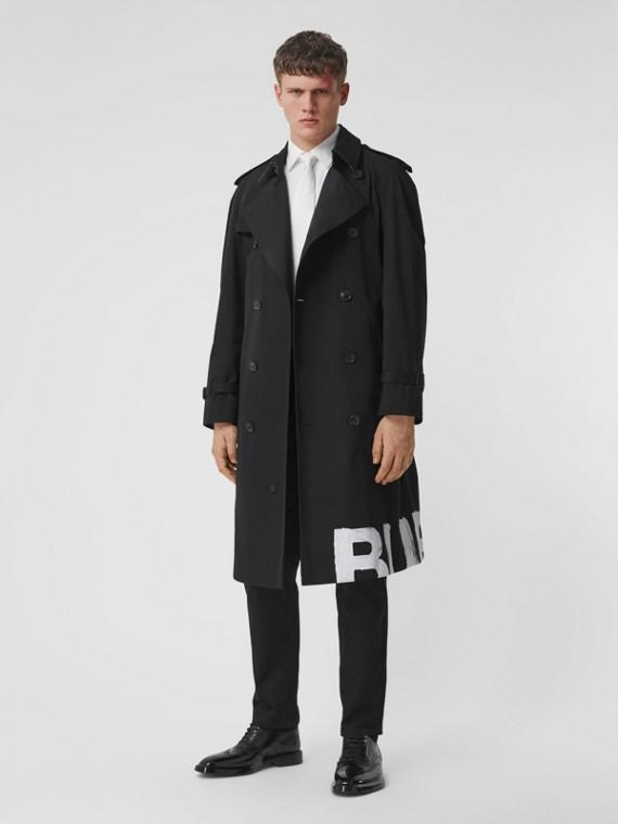 Trench coat in gabardine di cotone con stampa con logo (Nero)