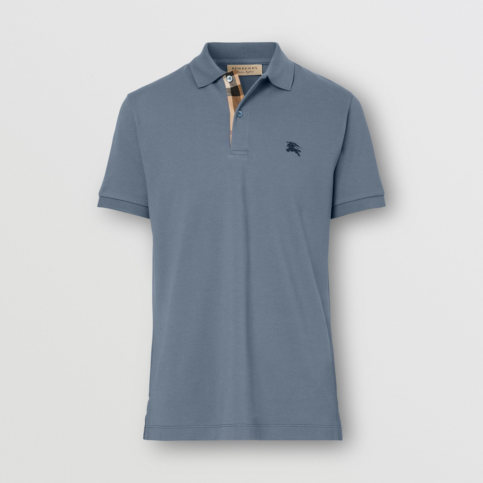 Check Placket Cotton Piqué Polo Shirt in Stone Blue - Men | Burberry - gallery image 0