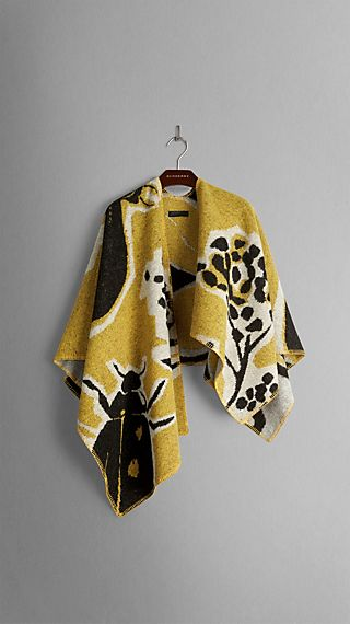 Insects of Britain Wool Cashmere Poncho