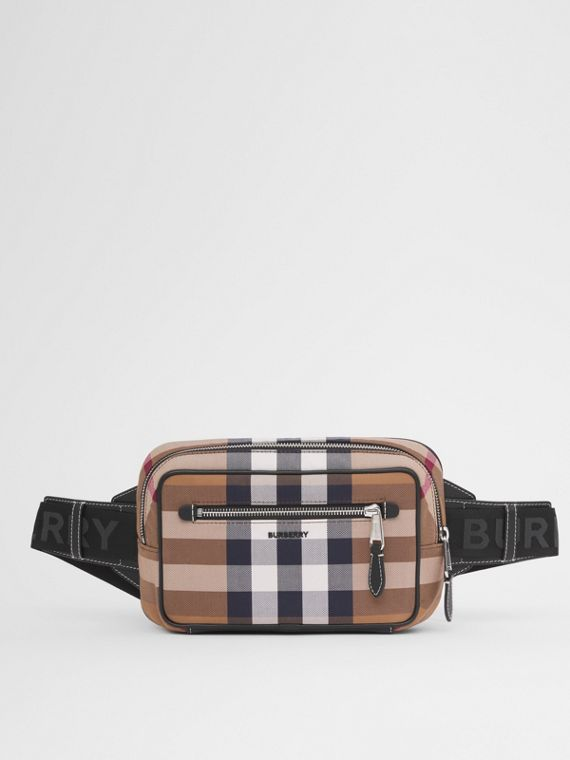 Check Cotton Canvas and Leather Bum Bag in Birch Brown