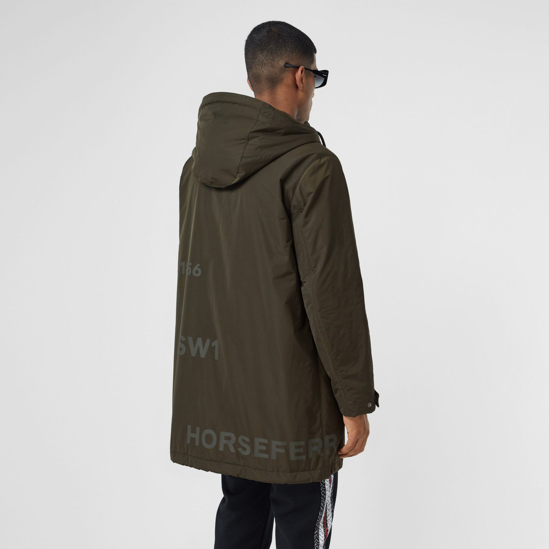 Horseferry Print Shape-memory Taffeta Hooded Coat in Khaki - Men | Burberry - gallery image 2