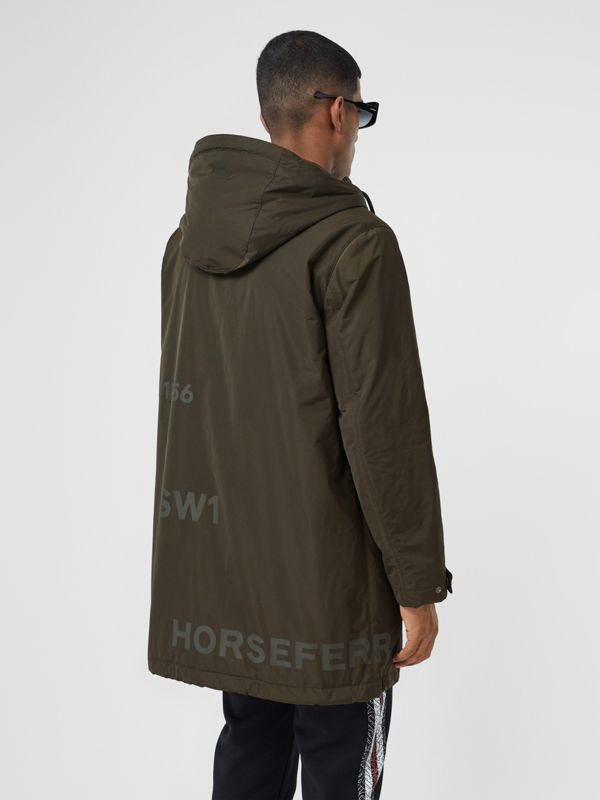 Horseferry Print Shape-memory Taffeta Hooded Coat in Khaki - Men | Burberry - cell image 2