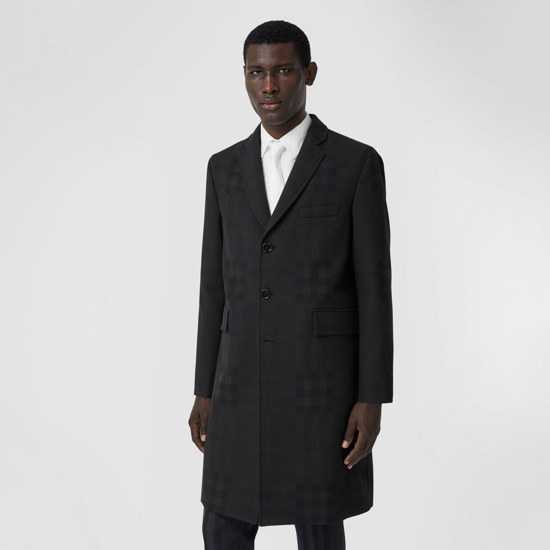 Check Wool Jacquard Tailored Coat in Charcoal Black - Men | Burberry - gallery image 5