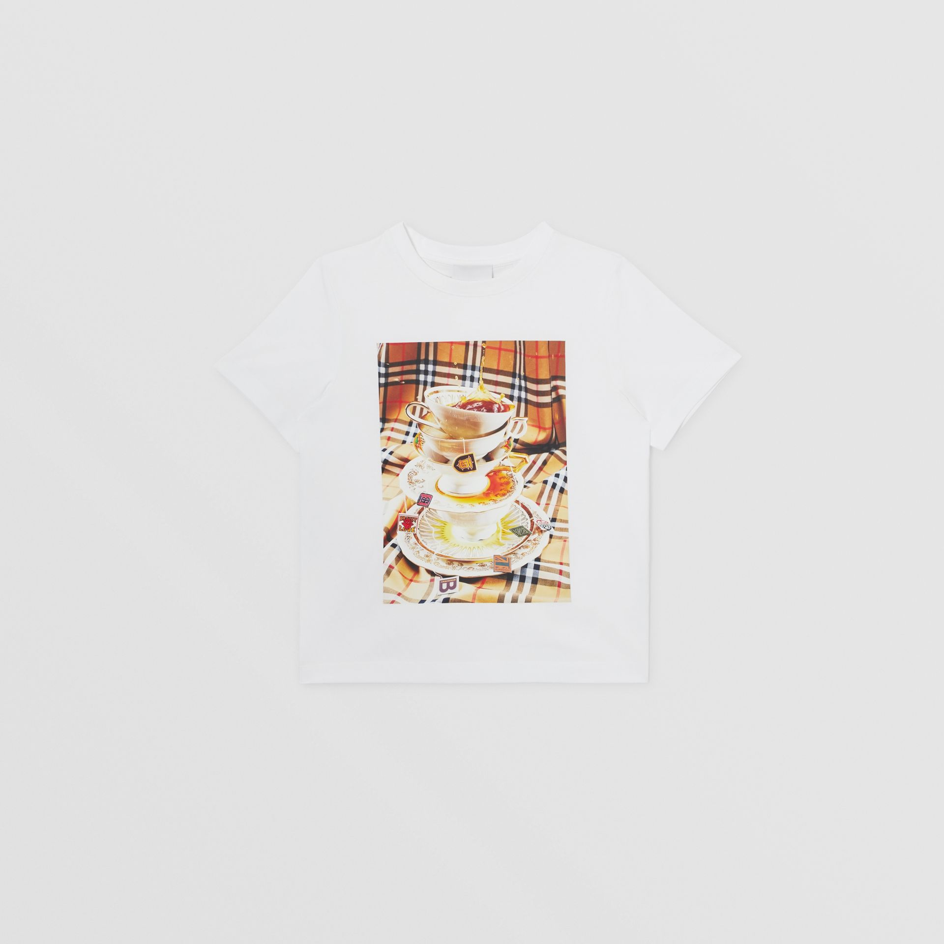 Teacup Print T-shirt in Multicolour | Burberry Canada - gallery image 0