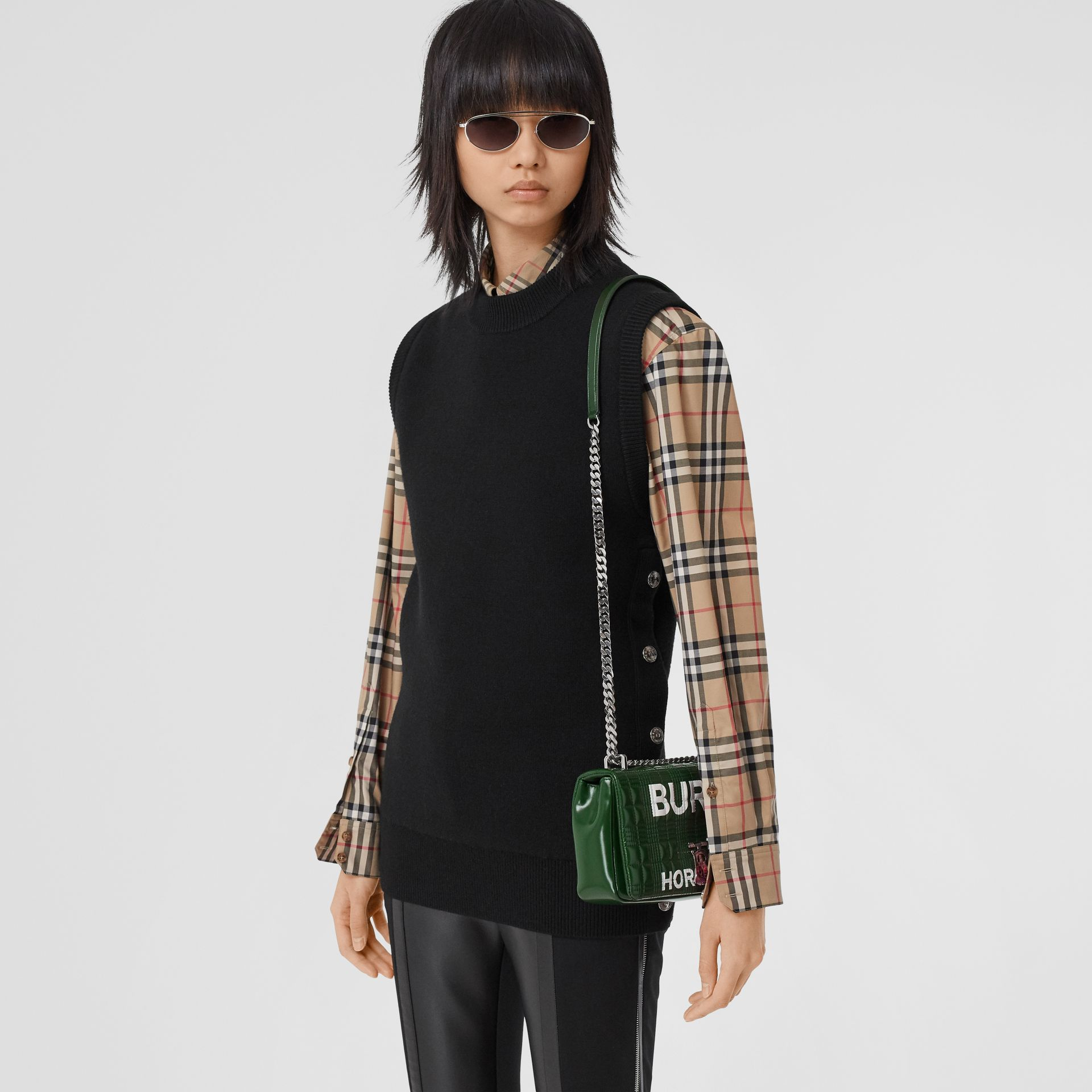 Small Horseferry Print Quilted Lola Bag in Dark Pine Green/white - Women | Burberry United States - gallery image 8