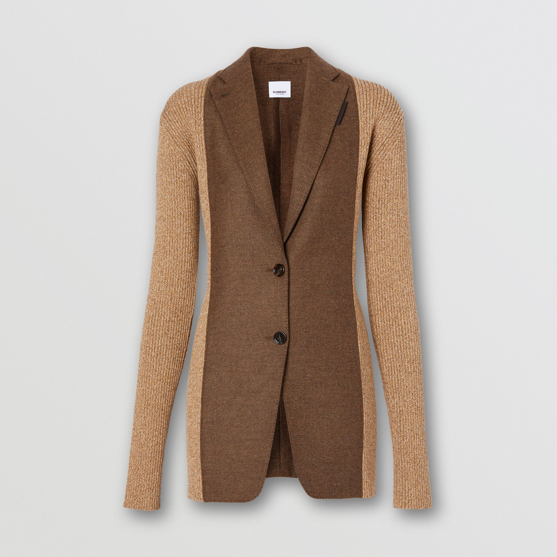 Rib Knit Panel Wool Cashmere Tailored Jacket in Dark Tan - Women | Burberry - gallery image 3