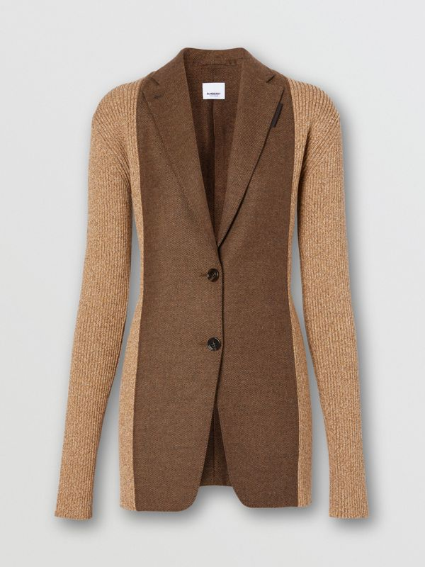 Rib Knit Panel Wool Cashmere Tailored Jacket in Dark Tan - Women | Burberry - cell image 3