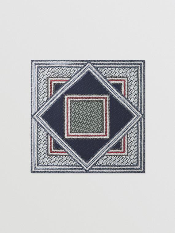 Seidenkarreeschal mit Monogrammmuster im Streifendesign (Kobaltblau)