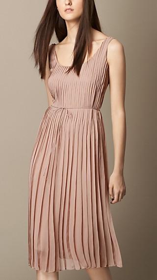 Sleeveless Pleated Silk Dress