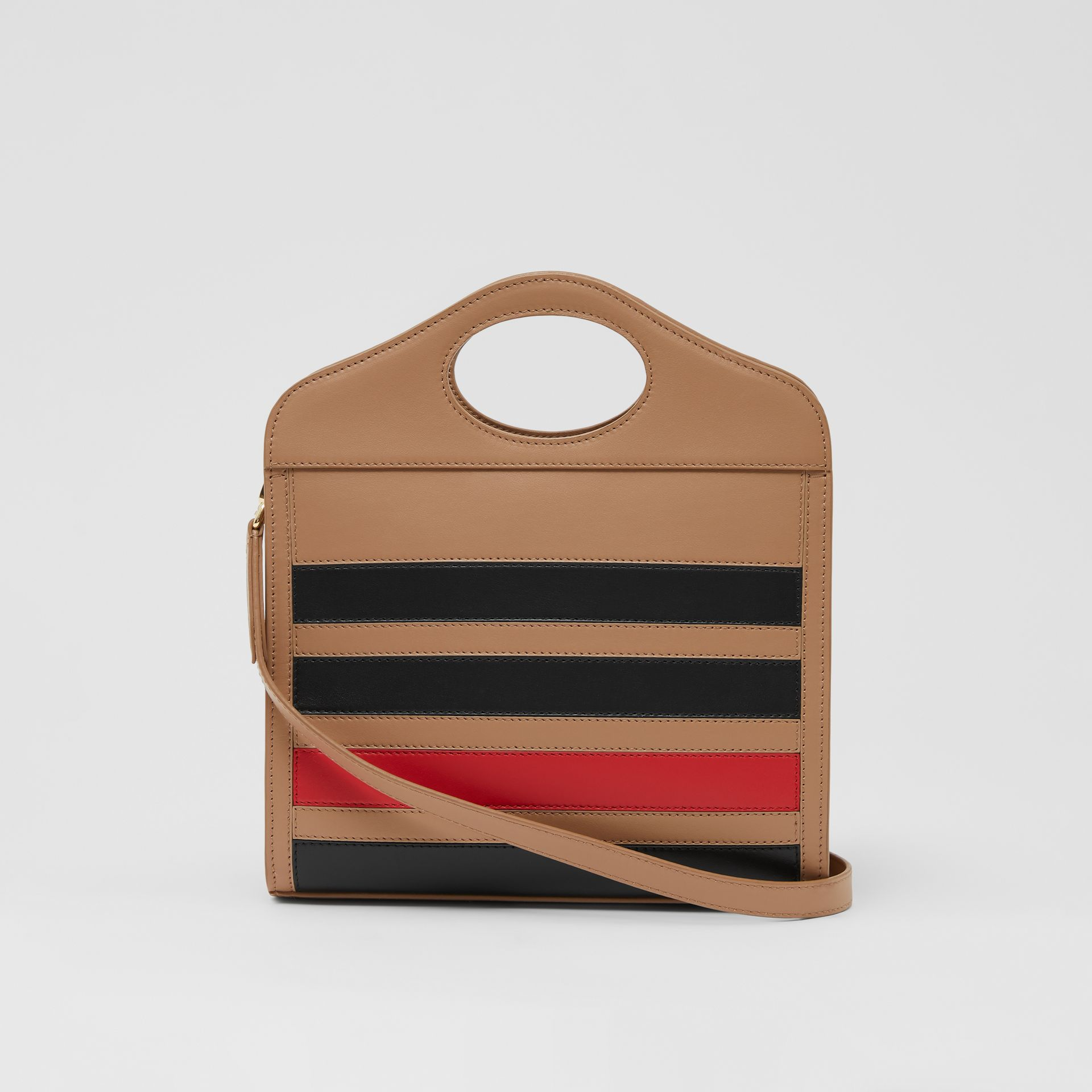 Mini Striped Intarsia Leather Pocket Bag in Camel - Women | Burberry - gallery image 7