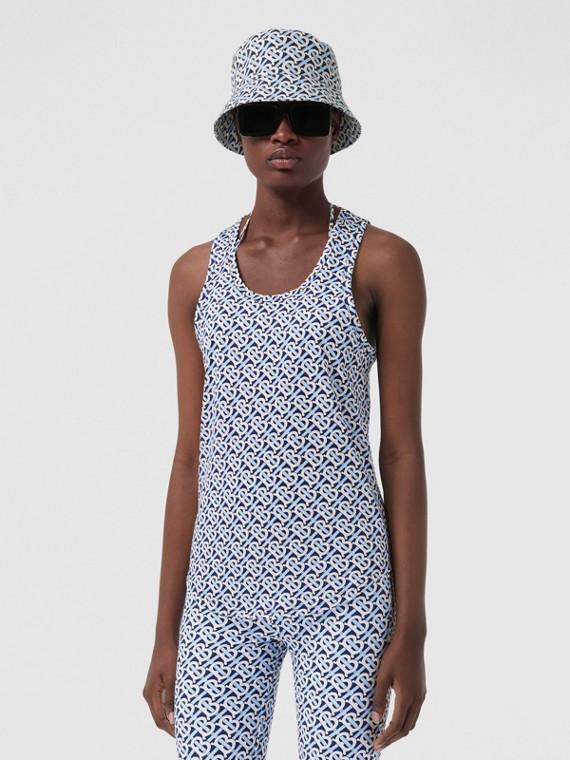 Monogram Print Cotton Jersey Vest in Cobalt Blue