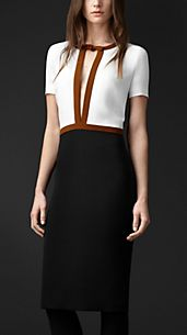 Colour Block-Kleid mit Transparenzdetail