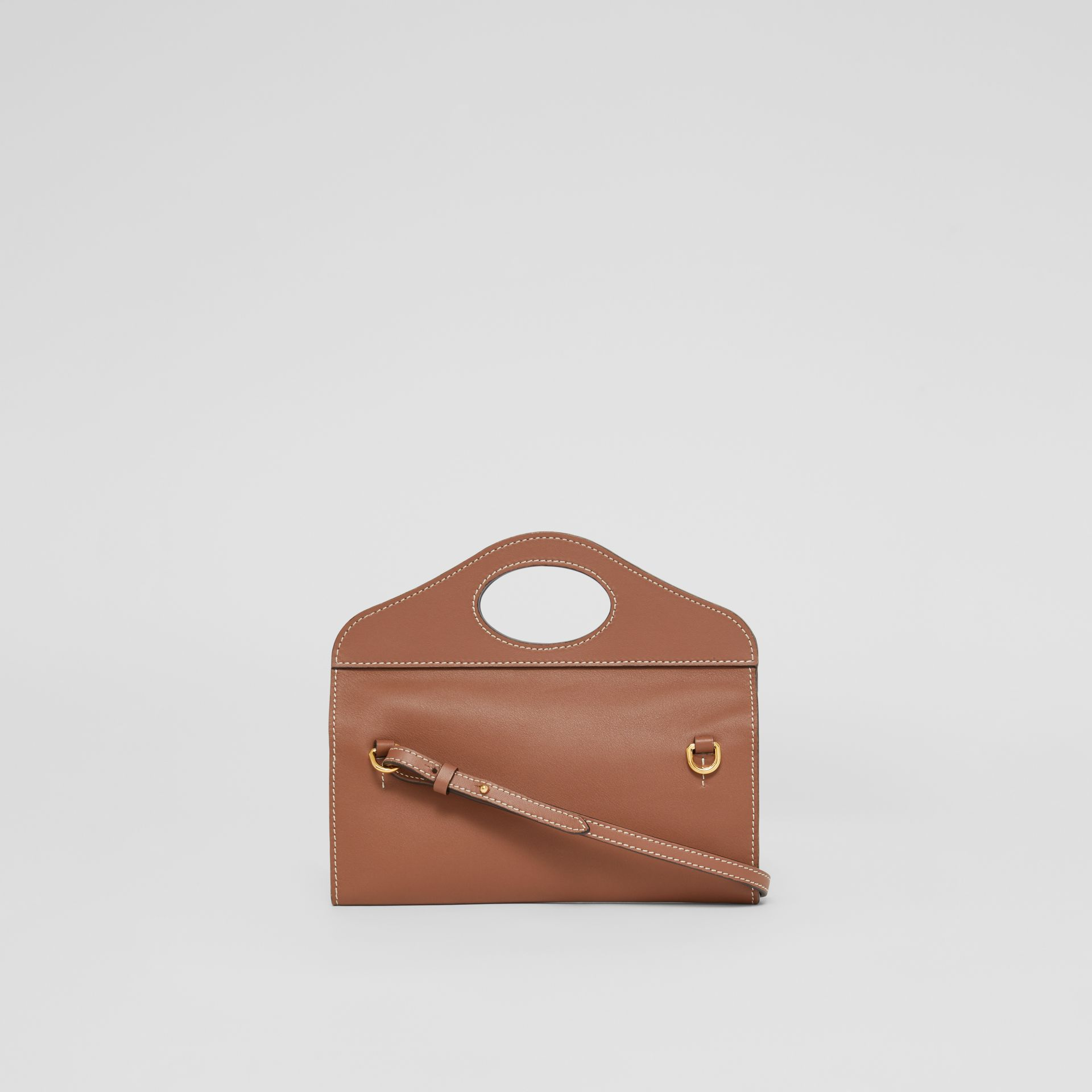 Mini Topstitched Lambskin Pocket Clutch in Malt Brown - Women | Burberry - gallery image 7