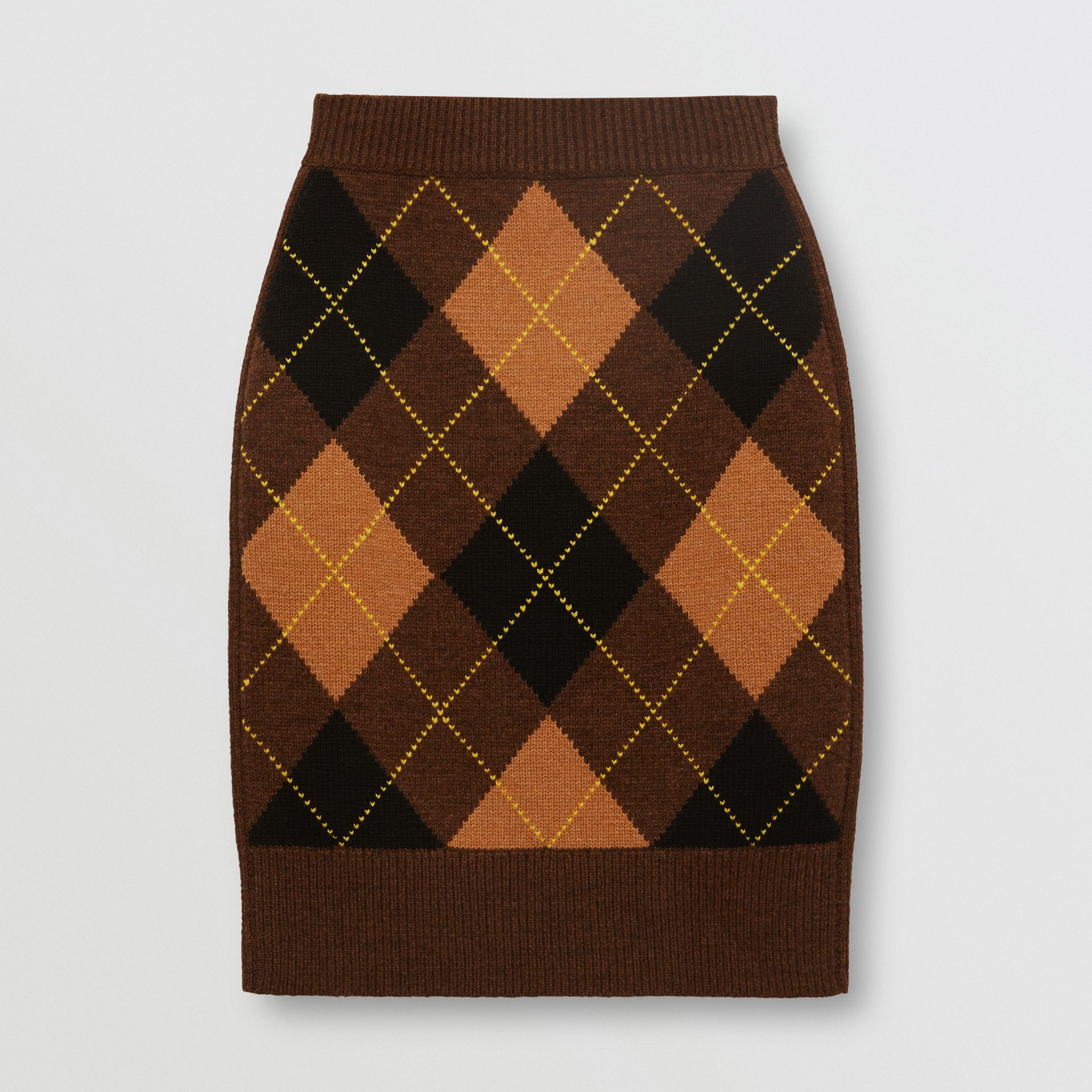 Argyle Intarsia Wool Cashmere Pencil Skirt in Dark Khaki - Women | Burberry - gallery image 3