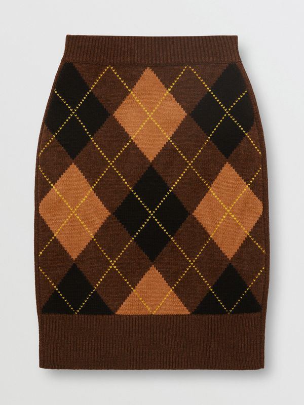 Argyle Intarsia Wool Cashmere Pencil Skirt in Dark Khaki - Women | Burberry - cell image 3