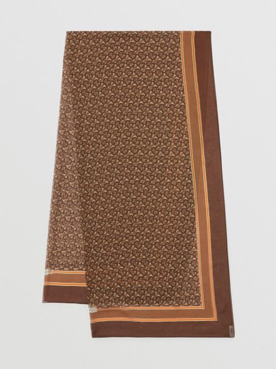 モノグラムプリント シルクシフォン スカーフ (ブライドルブラウン)