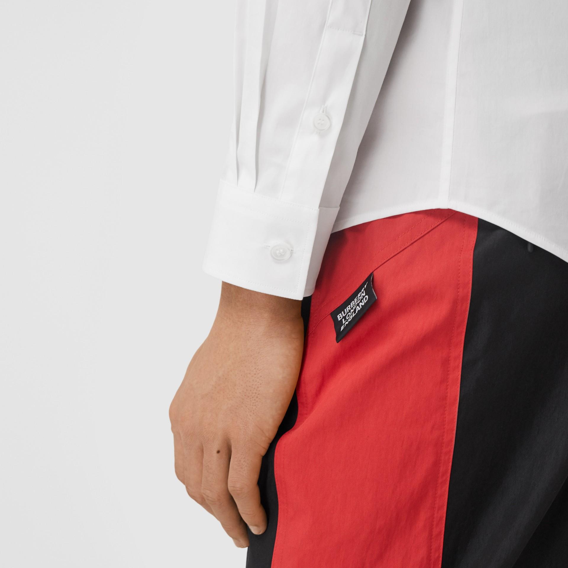 Slim Fit Monogram Motif Stretch Cotton Poplin Shirt in White - Men | Burberry United States - gallery image 1