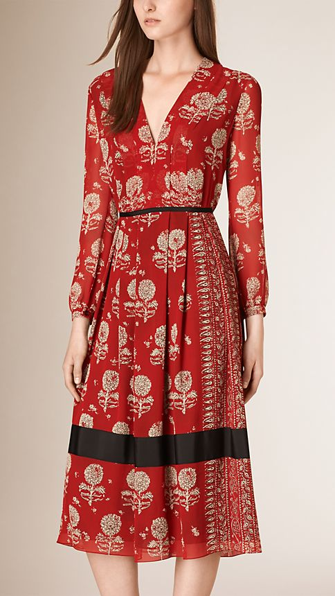 Military red Floral Print Silk A-line Dress - Image 1