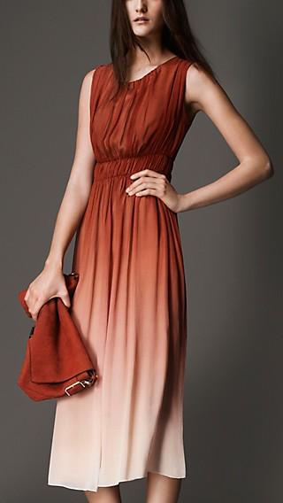 Fitted High-Waist Silk Dress