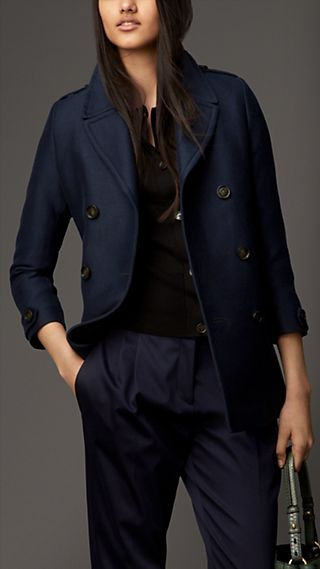 Cotton Silk Structured Pea Coat