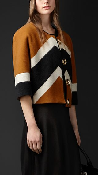 Chevron Stripe Wool Cashmere Jacket