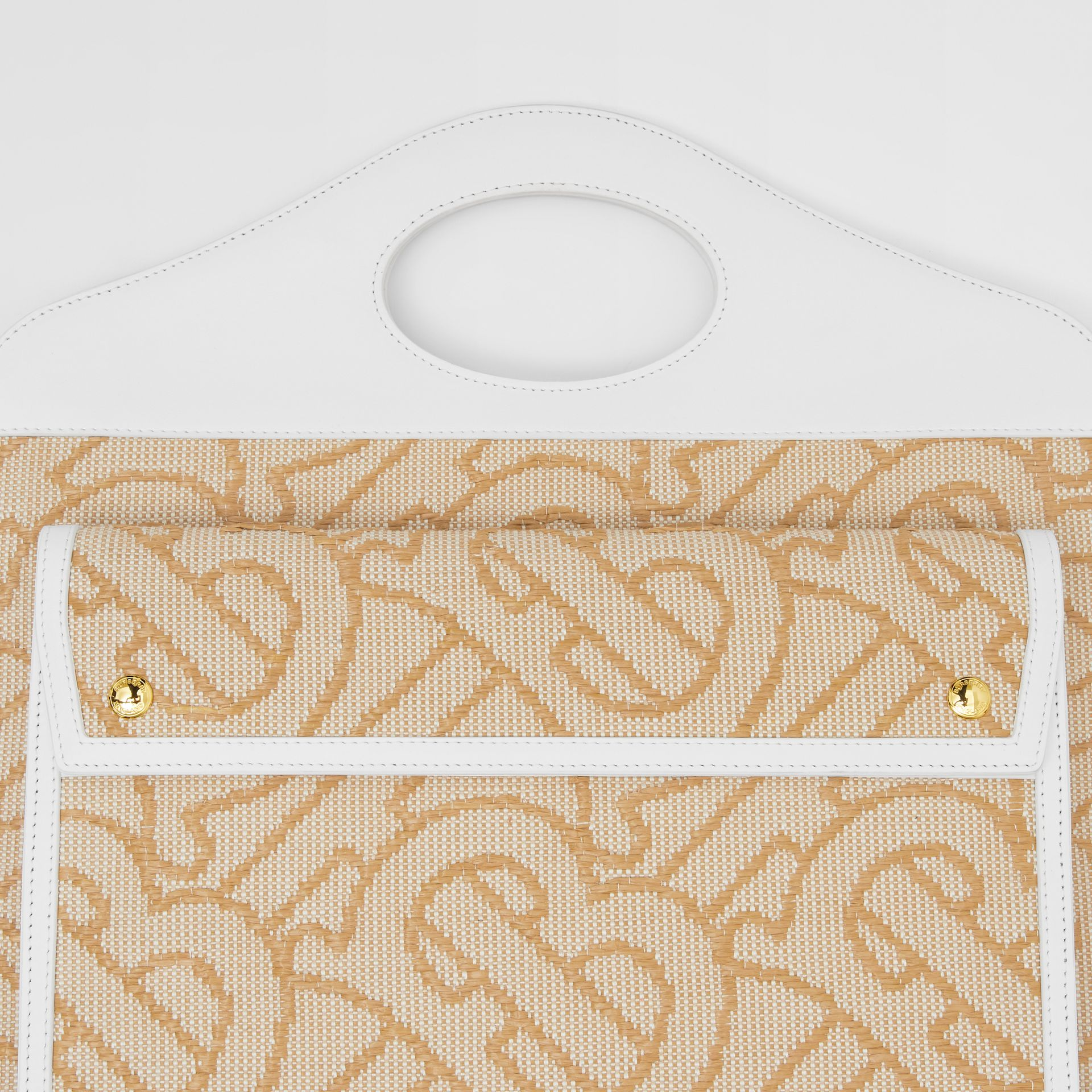 Medium Raffia and Leather Pocket Bag in Natural - Women | Burberry - gallery image 1