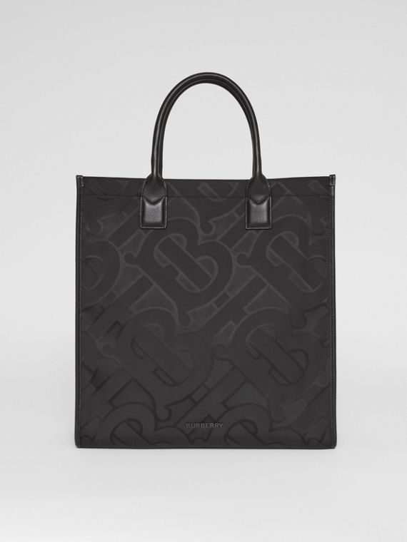 Monogram Recycled Polyester Jacquard Tote in Black