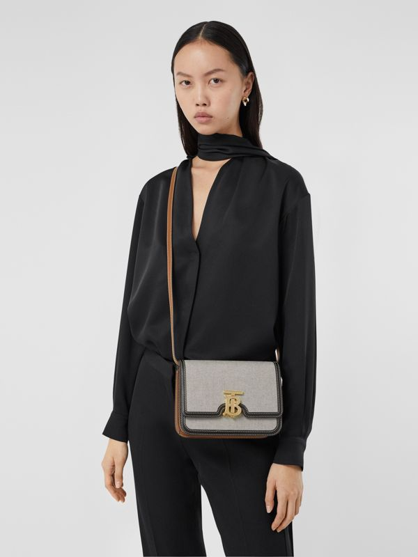 Small Tri-tone Canvas and Leather TB Bag in Black/tan - Women | Burberry United States - cell image 2