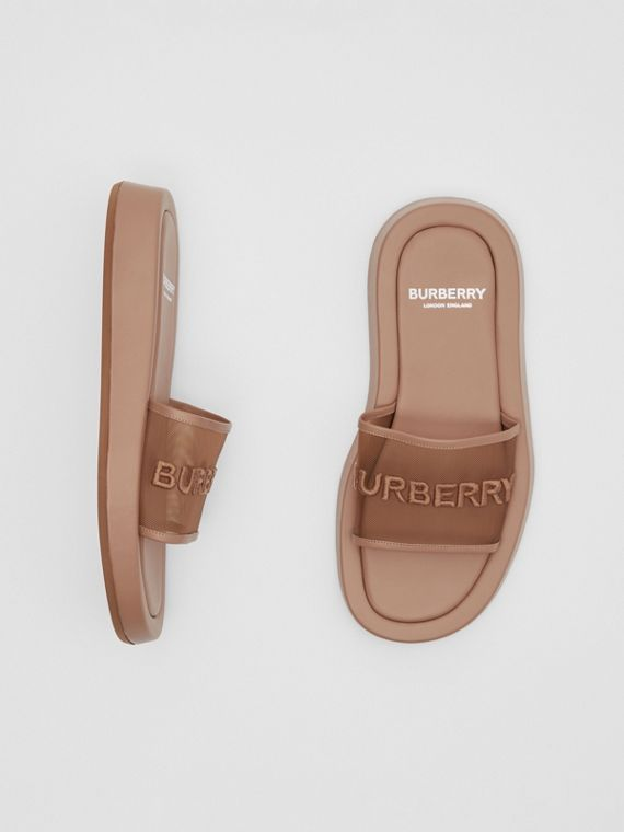 Embroidered Logo Mesh and Leather Slides in Camel