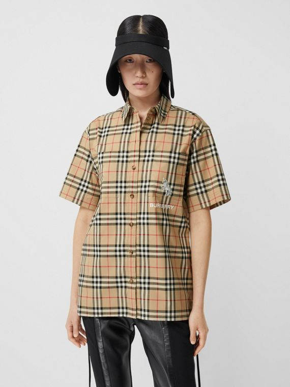 Zebra Appliqué Vintage Check Cotton Twill Shirt