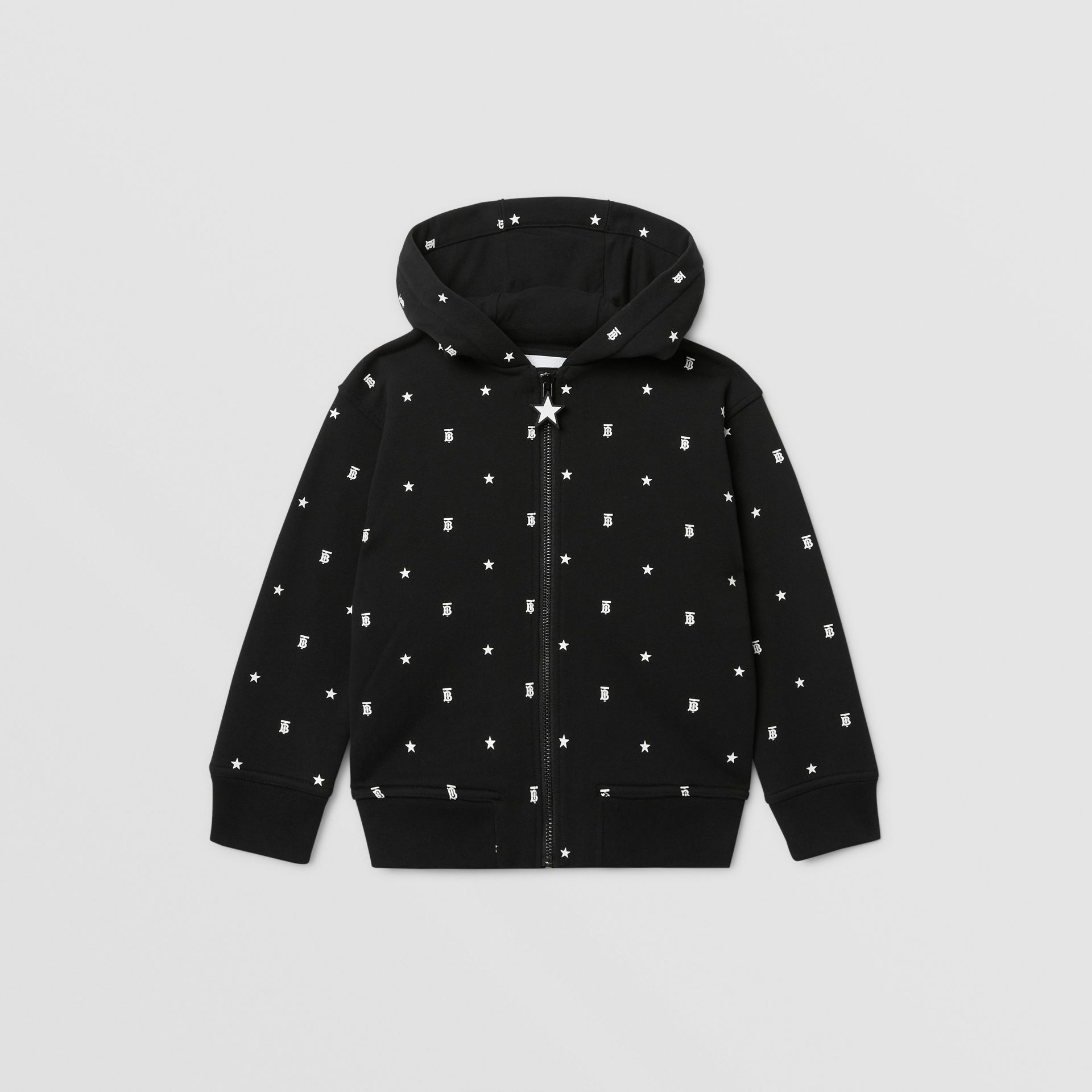 Star and Monogram Motif Cotton Hooded Top in Black | Burberry - gallery image 0