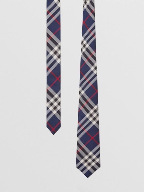 Cravate moderne en soie à motif Vintage check (Marine)