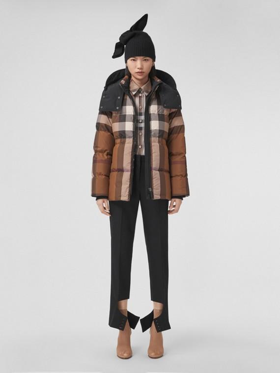 Detachable Hood Check Puffer Jacket in Dark Birch Brown