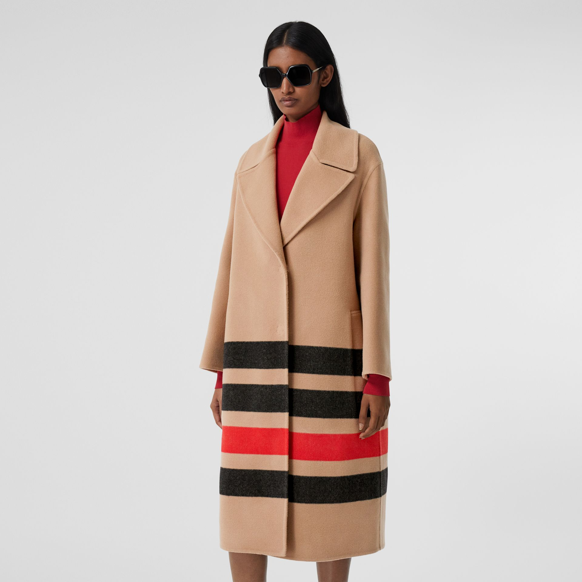 Stripe Detail Double-faced Wool Coat in Light Camel - Women | Burberry - gallery image 6