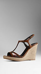 House Check Espadrille Wedges