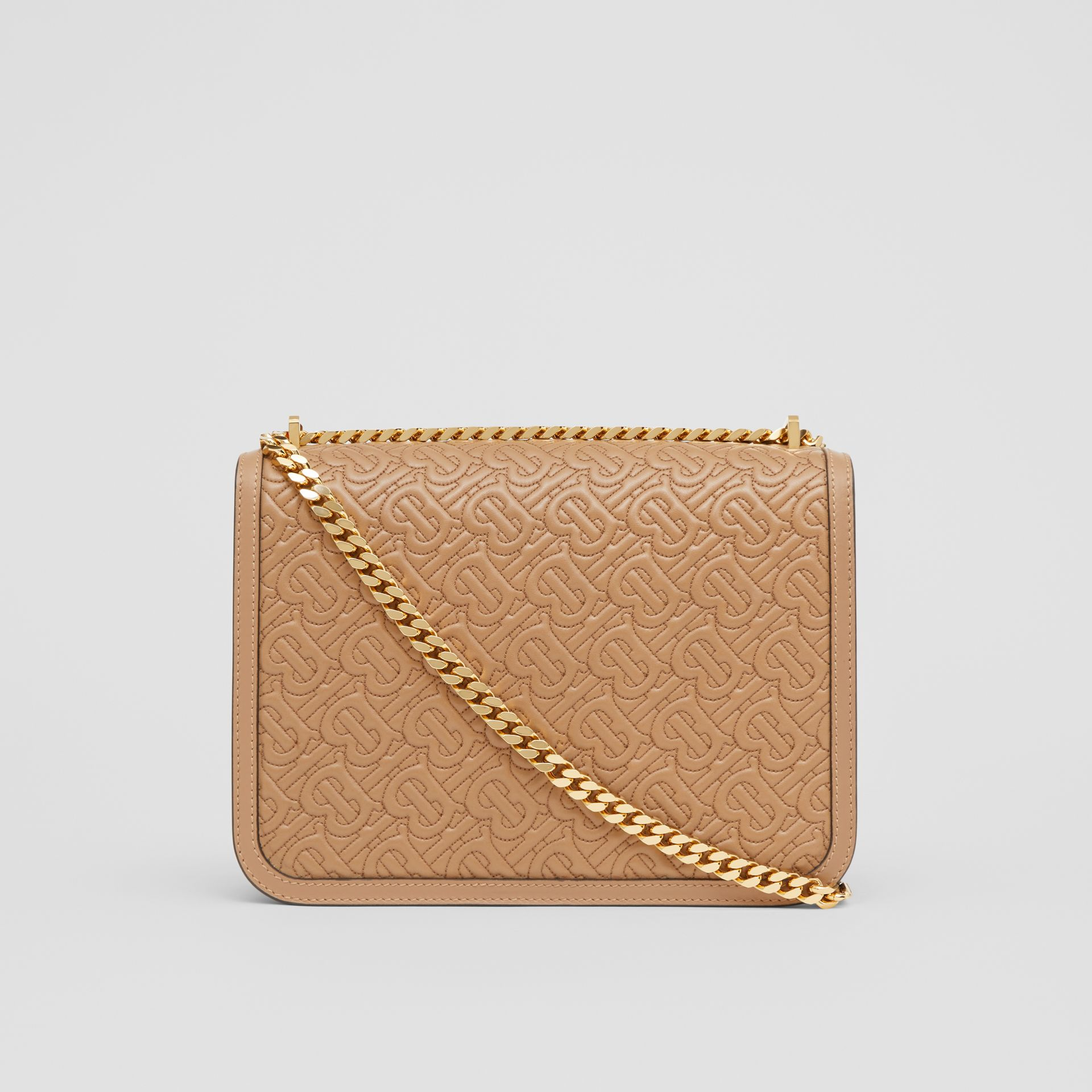 Medium Quilted Monogram Lambskin TB Bag in Honey - Women | Burberry United Kingdom - gallery image 7