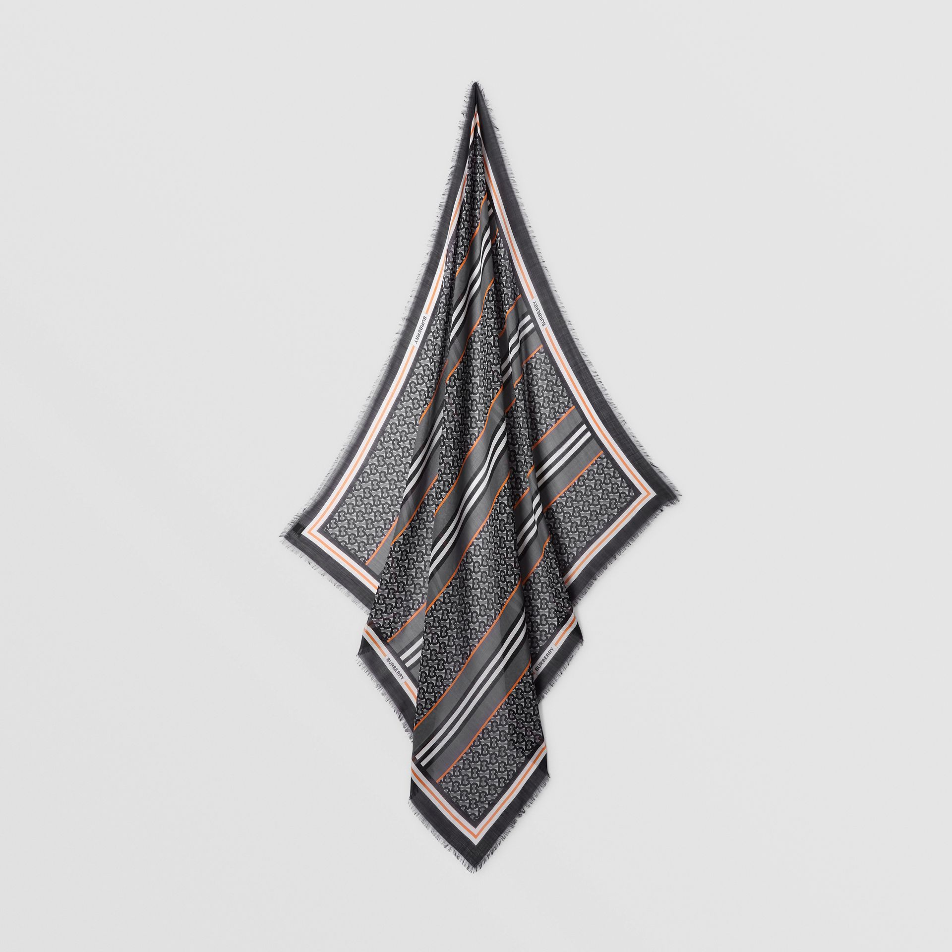 Icon Stripe Monogram Print Wool Silk Square Large Scarf in Graphite | Burberry - gallery image 4