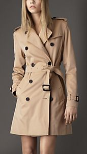 Trench coat medio in gabardine di cotone