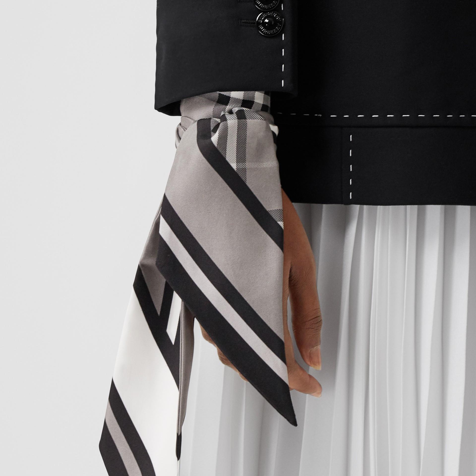 Montage Print Silk Skinny Scarf in Monochrome | Burberry - gallery image 7