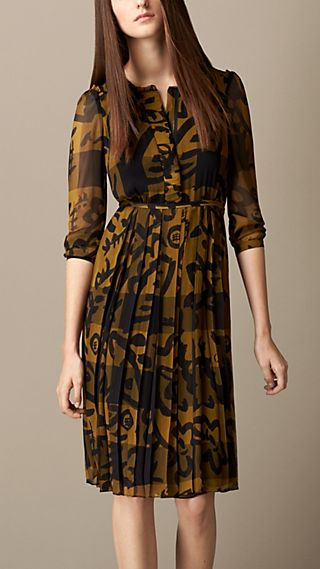 Floral Print Check Silk Dress