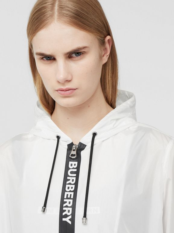 Logo Tape ECONYL® Hooded Jacket in Optic White - Women | Burberry Singapore - cell image 1