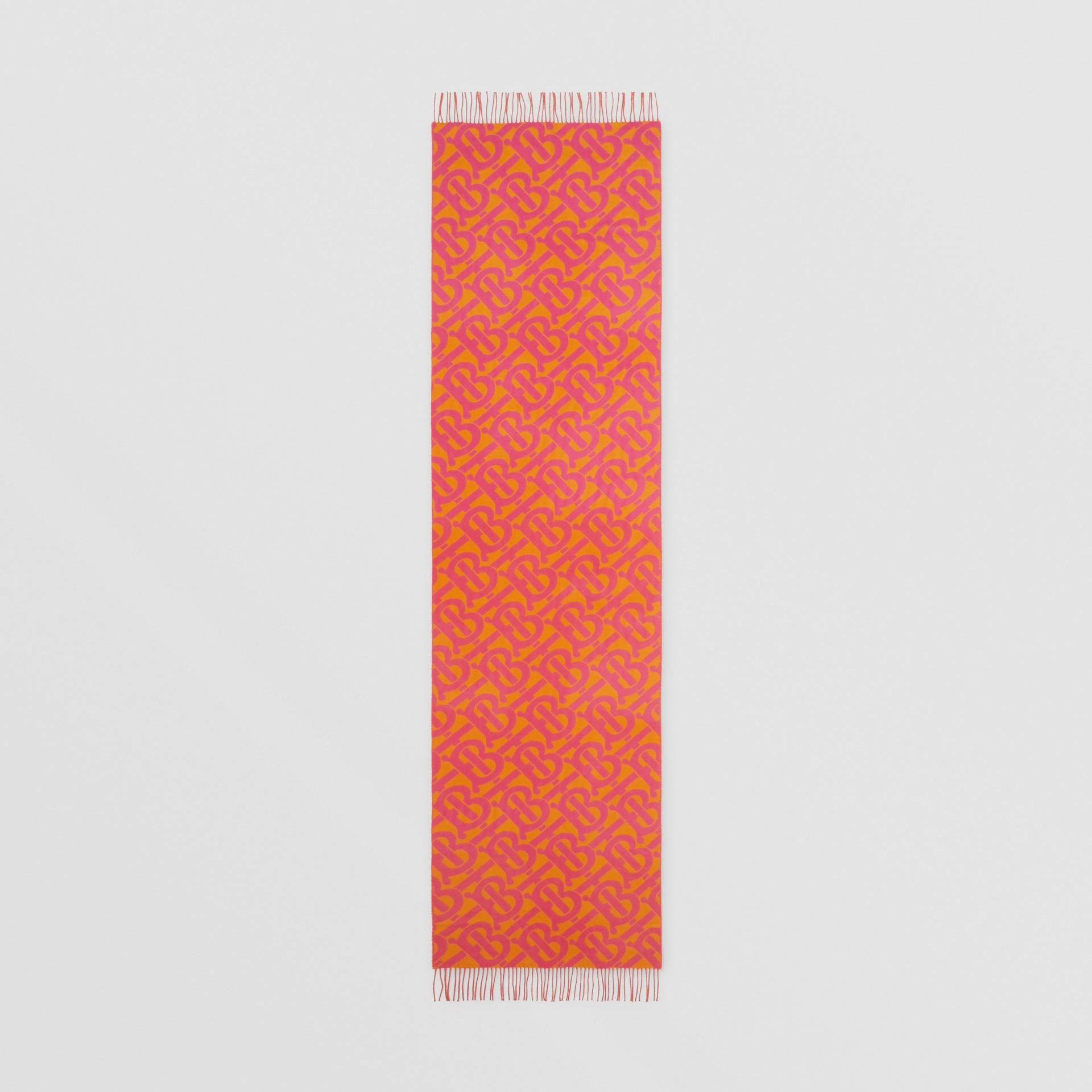 Bufanda en cachemir con motivo de monogramas en jacquard (Rosa Intenso) | Burberry - imagen de la galería 5